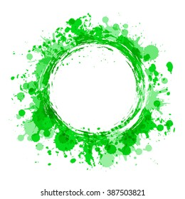 Water label. Round frame. Abstract vector background with place for text. Illustration with green water color paint splashes and smudges. A concept of environmental and water resources protection.