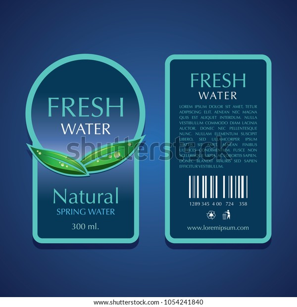 Water Label Vector Template Stock Vector (Royalty Free) 1054241840