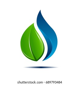 water and leaf concept logo