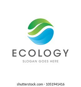 water leaf ecology logo icon vector template