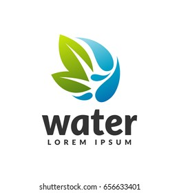 Water with leaf icon. Eco water sign. Green, Save, Eco energy, Eco friendly, logo. Cleaning water systems logo. Aqua filters icon. Clean water sign.