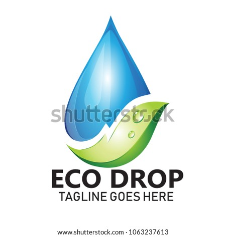 Water Leaf Vector Logo Natural Health Stock Vector Royalty Free