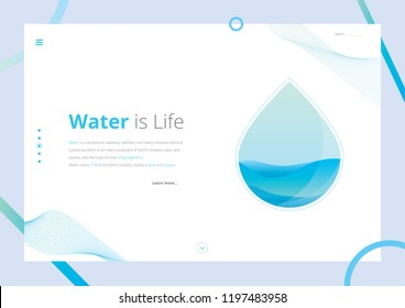 Water Is Life Landing Page Vector Illustration