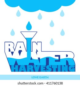 Water is life-Save it-Rainwater harvesting-Solution to water crisis-vector concept
