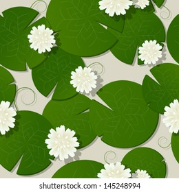 Water lilies design, seamless pattern vector