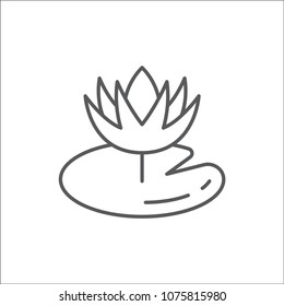 Water lily flower with leaf editable outline icon - pixel perfect symbol of nymphaeaceae bloom in thin line art style isolated on white background. Vector illustration.