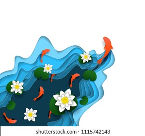 Water lily, koi carp fish swimming in the water. Vector illustration in paper art style. Modern origami design element.