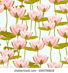 Water lily lotus floral seamless pattern on light blue background. Aquatic plants pink crimson blossom and green lily pad leaves. Vector design illustration for fashion, fabric, textile, decoration.