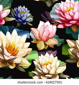 Water lily and Lotus flowers with leaves on black. Seamless background pattern. Hand drawn elements. Vector - stock.