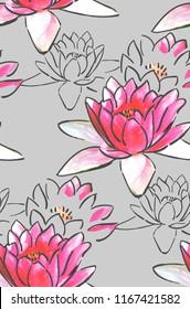 water lily pink lotus pastel textured seamless pattern