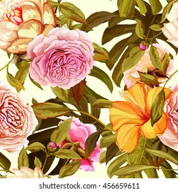 Water lily, roses and tropic leaves on white. Seamless background pattern. Hand drawn elements. Vector - stock.