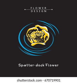 Water Lily, Spatter-dock Flowers, Nenuphar Blossom. Vector Illustration on Black Background. The result of black and white auto-trace adapted for easy use.