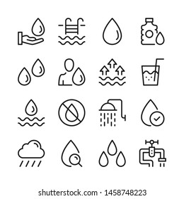 Water line icons set. Modern linear graphic design concepts, simple outline elements collection. Vector line icons