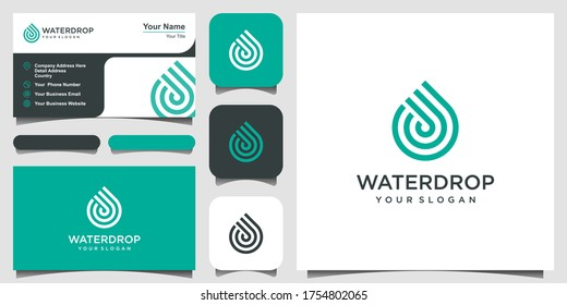 water line logo design. Droplet with line art style for mobile concept and web design. business card design