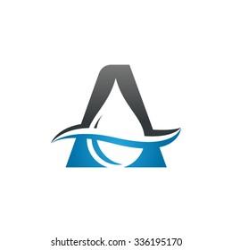 Water liquid drop logo, Letter A