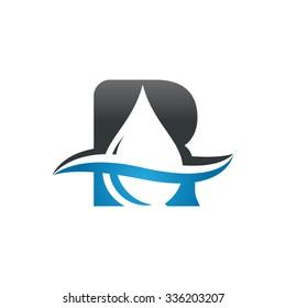 Water liquid drop logo, Letter R