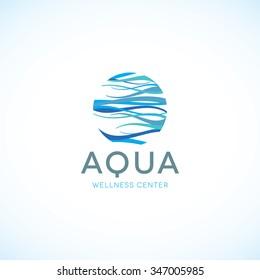 Water logo. Aqua logo. Wellness logo. spa logo. Mineral natural water logo. Waves logo