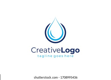 Water Logo. Blue Water Drop Icon with Circle Around isolated on White Background. Usable for Business, Science, Healthcare, Medical and Nature Logos. Flat Vector Icon Design Template Element.