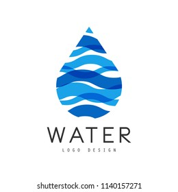 Water logo design, corporate identity template with blue drop, ecology element for poster, banner, card, presentation vector Illustration