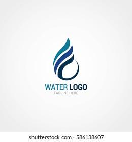 Water Logo Design Template. Vector Illustration