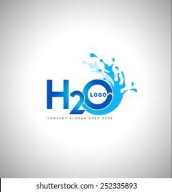 Water logo vector.Creative blue water splash with drops