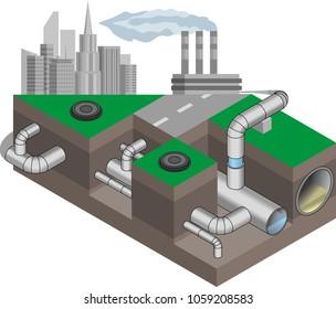 Water main system. Urban underground communications, waterpipe isometric scheme. Vector illustration