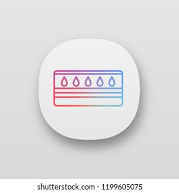 Water mattress app icon. UI/UX user interface. Waterbed. Flotation mattress. Bedding. Web or mobile application. Vector isolated illustration