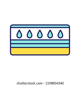 Water mattress color icon. Waterbed. Flotation mattress. Bedding. Isolated vector illustration