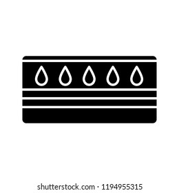 Water mattress glyph icon. Waterbed. Flotation mattress. Bedding. Silhouette symbol. Negative space. Vector isolated illustration