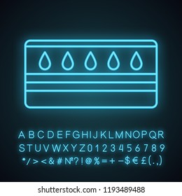 Water mattress neon light icon. Waterbed. Flotation mattress. Bedding. Glowing sign with alphabet, numbers and symbols. Vector isolated illustration