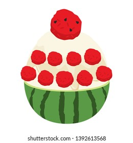 water melon bingsu illustration vector
