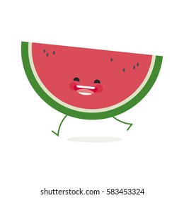 water melon with cute face. Illustration funny and healthy food cartoon. Isolated. Citrullus lanatus