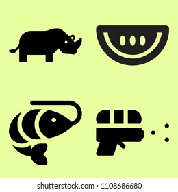 Water melon slice, water gun and rhino related icon set
