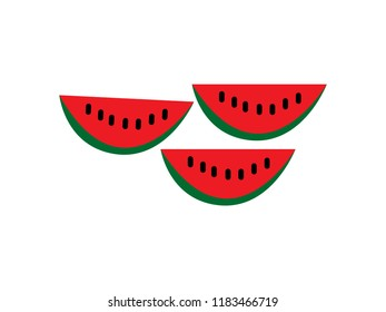 Water melon slice isolated on white background.vector illustration