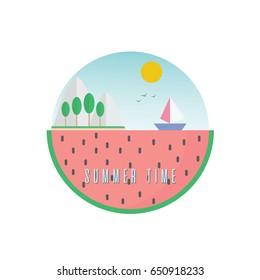 water melon summer time badge logo holiday vector illustration