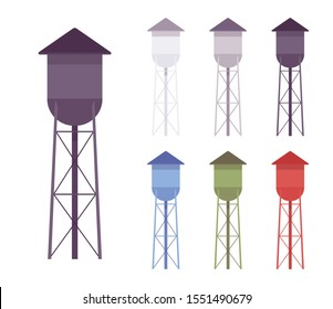 Water metal tower set. High metal large tank construction, standpipe serving as hydro reservoir and resources storage system. Vector flat style cartoon illustration, different colors and views