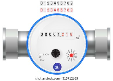 Water Meter. Cold water counter. Vector illustration isolated on white background