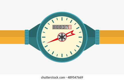 Water meter or Counter with pipe. Vector illustration.