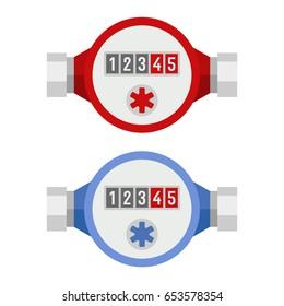 Water Meter Icon Set. Vector