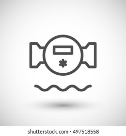 Water meter line icon