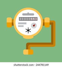 Water meter. Vector flat icon