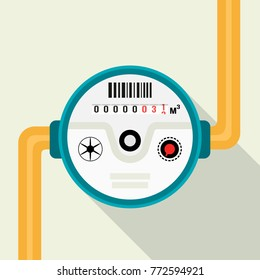 Water meter. Vector illustration of a water meter in a flat design isolated on a light background