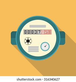 Water meter. Vector illustration of watermeter in flat design.