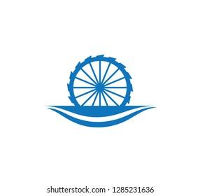 water mill creek river vector icon logo design illustration template