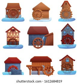 Water mill icons set. Cartoon set of water mill vector icons for web design