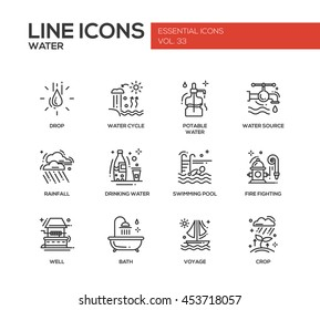 Water - modern vector plain line design icons and pictograms set. Drop, water cycle, potable, drinking, source, rainfall, swimming pool, fire fighting, well, bath voyage crop