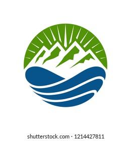 Water Mountain Logo Design Template
