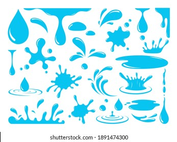 Water or oil drops. Vector icon set of сurrent drops, waves, tears, spray, nature splashes isolated on white background. Dripping liquid. Water spill. Aqua drop element. Raindrop and sweat drops.