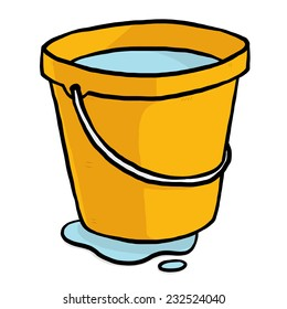 water, orange bucket / cartoon vector and illustration, hand drawn style, isolated on white background.