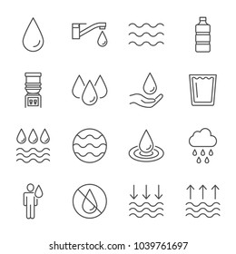 Water outline icons set